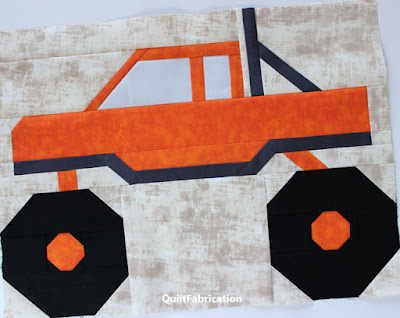 orange monster truck quilt block