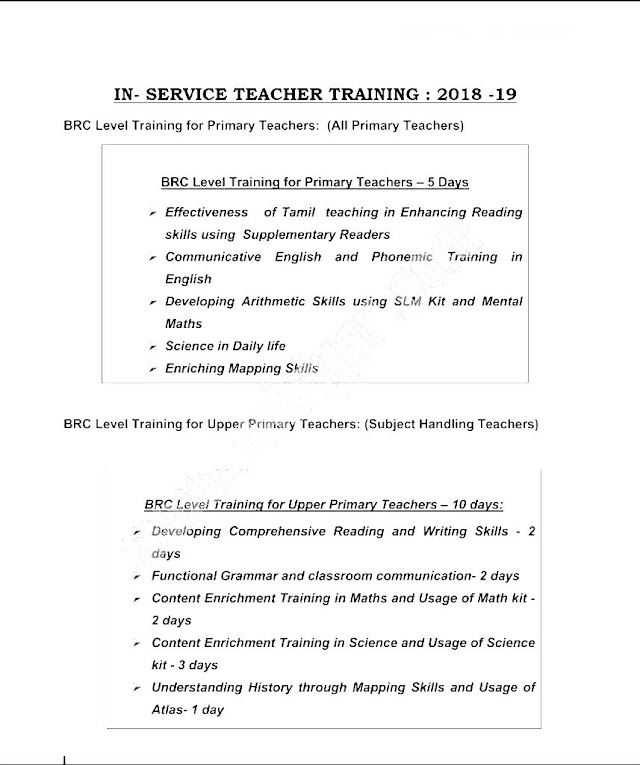 CRC & BRC LEVEL TRAINING 2018 – 19 FOR PRIMARY & UPPER PRIMARY TEACHERS – TENTATIVE TRAINING SCHEDULE PUBLISHED.!!!
