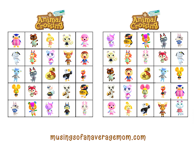 printable animal crossing bingo