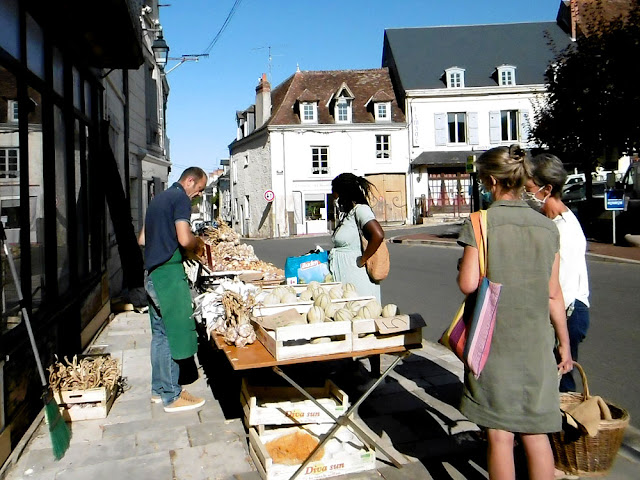 Melon stall at a village market, Indre et Loire, France. Photo by Loire Valley Time Travel.