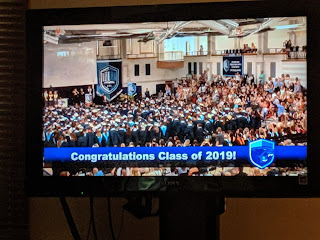 screen grab of the live broadcast by Panther TV of the FHS Class of 2019 Graduation
