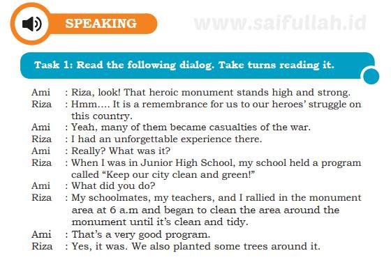 Speaking Chapter 9 Task 1 Read the following dialog. Take turns reading it (Page 129)