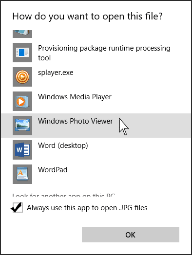 Windows 10 Open With App List