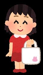 エコバッグを持つ大家族のイラスト(女の子)