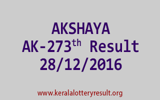AKSHAYA AK 273 Lottery Results 28-12-2016
