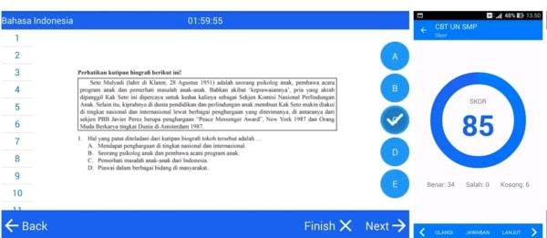 CBT Ujian Nasional SMP aplikasi belajar online