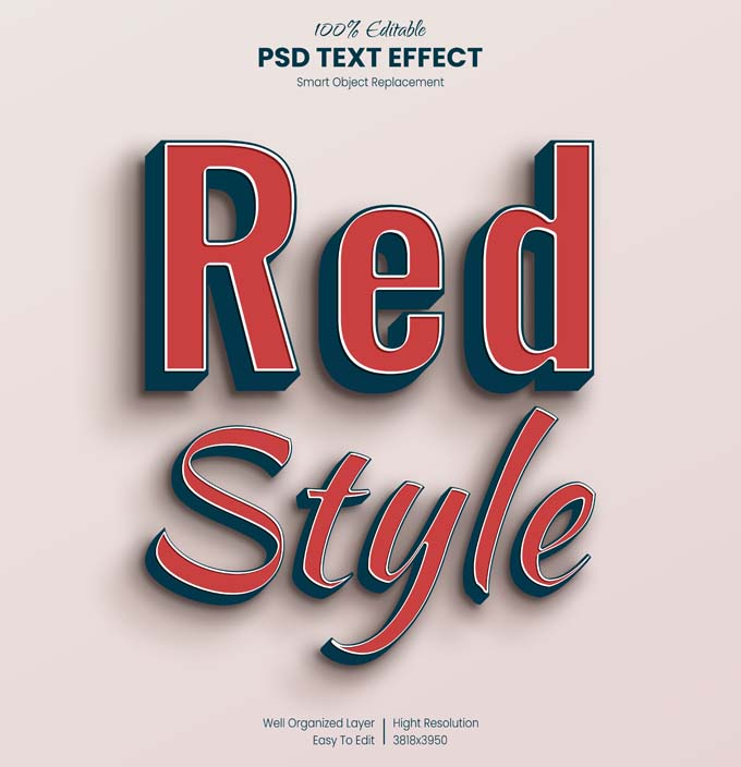 3D Red Style Text Effect PSD Mockup