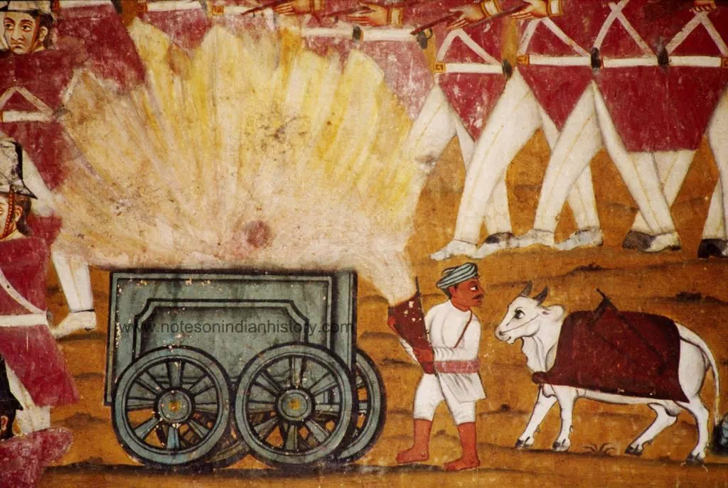 amrit-mahal-bulls-battle-of-pollilur-close-up-explosion-of-ammunition cart