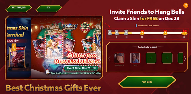 Cara Mendapatkan Skin Gratis Mobile legends Event Hang Bell Christmas