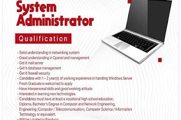 Lowongan Kerja System Administrator Leholeh