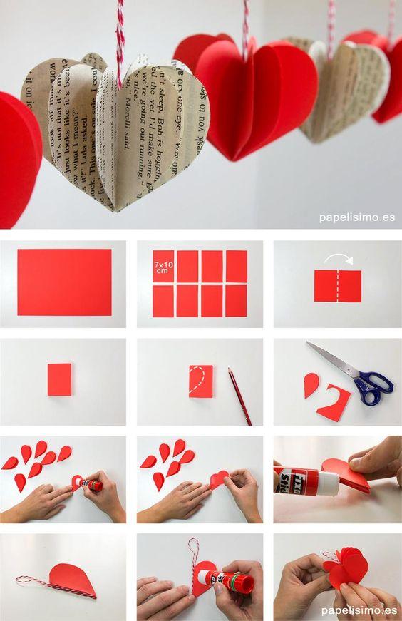 Decoração com coração de papel: molde