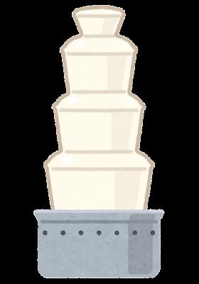 チョコレートファウンテンのイラスト(ホワイトチョコレート)