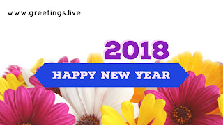"all in one colour flowers ""Happy New Year 2018 Wishes"""
