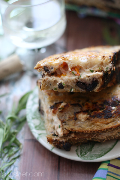 Grilled Goat Cheese with Tomato and Tarragon on Olive Bread