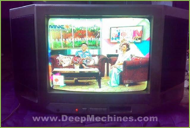 Perbaikan Kerusakan Dominan Warna Kuning pada Gambar Siaran TV Sharp 14-Inch ganti Mesin TV China