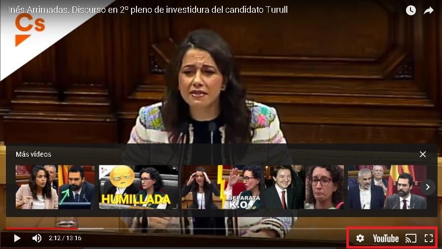 video de Inés Arrimadas donde no existe opción de leer subtitulos