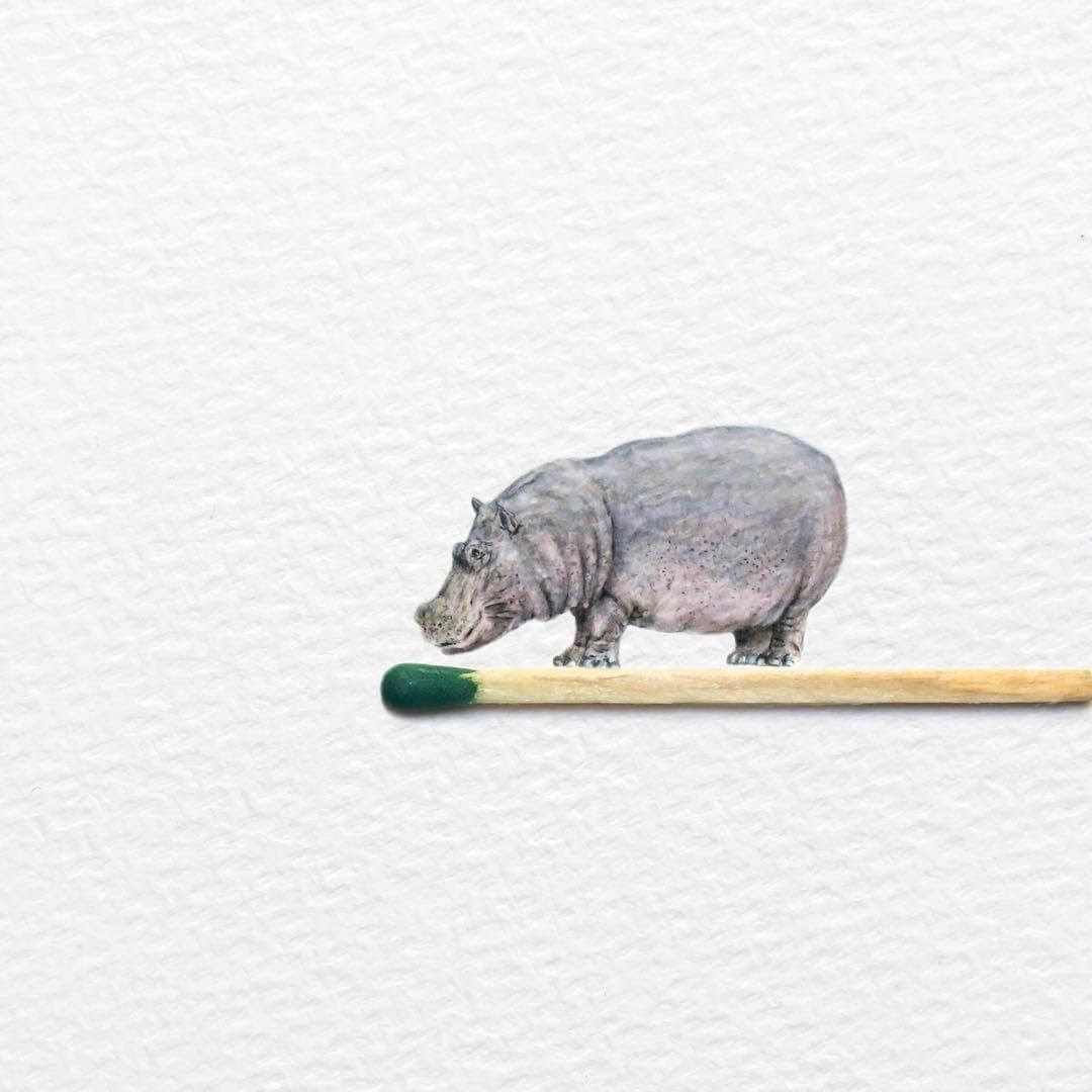 10-Hippo-Frank-Holzenburg-Animals-and-Fantasy-Creatures-Tiny-Paintings-www-designstack-co