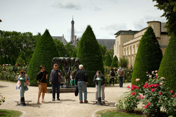 Garden and sculpture Musée Rodin Paris, Eiffel tour in background. Photos by Kent Johnson for Street Fashion Sydney.
