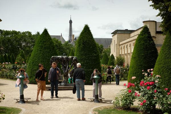 Garden and sculpture Musée Rodin Paris, Eiffel tour in background. Photos by Kent Johnson for Street Fashion Sydney.