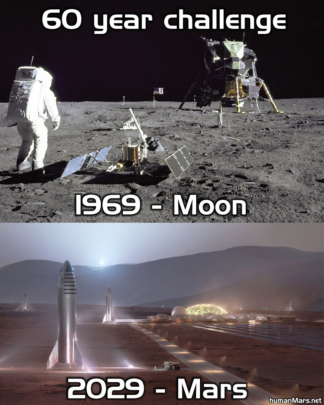 60 year challenge for humanity: 1969 - Moon, 2029 - Mars