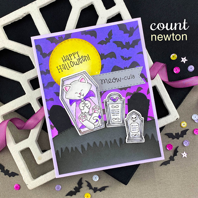 Cat Vampire Halloween Card by Jennifer Jackson   Count Newton Stamp Set and Flying Bats Stencil by Newton's Nook Designs #newtonsnook