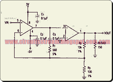 High Gain Wide Bandwidth Op-Amp Circuit Diagram