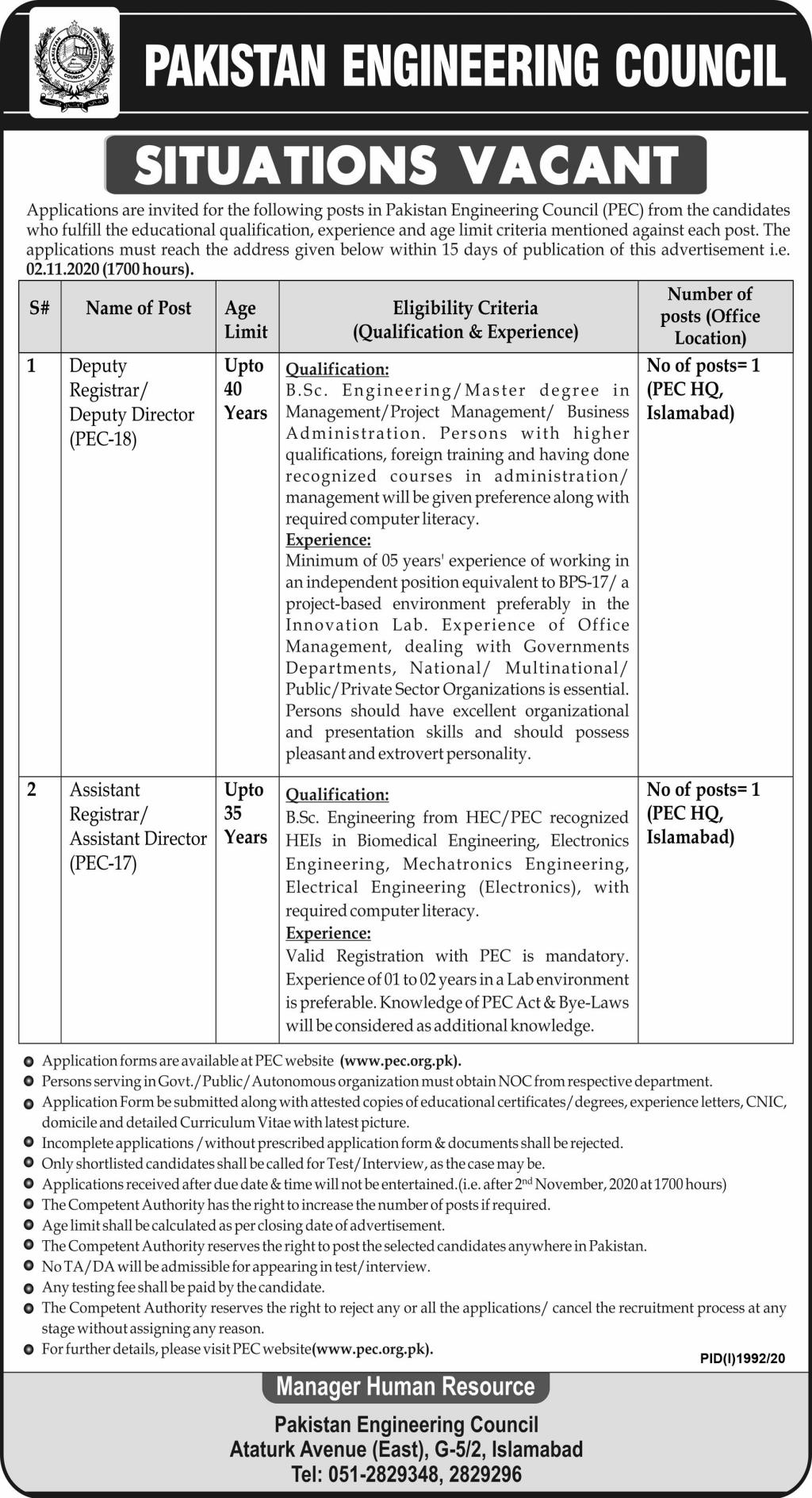 Pakistan Engineering Council PEC Job Advertisement in Pakistan Jobs 2020-2021 - Online Apply - www.pec.org.pk