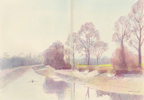 Travels with a sketchbook - The Thames at Kew - looking towards Richmond