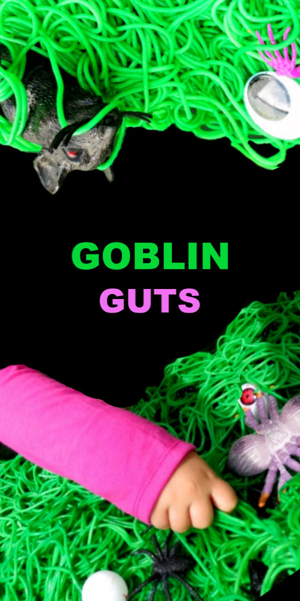 Make spooky spaghetti for kids Halloween sensory activities.  My kids called this goblin guts! #goblinguts #spaghettirecipes #spaghettislime #halloweenspaghetti #halloweensensorybin #halloweensensoryactivities #spookyspaghetti #howtodyespaghettinoodles #sensoryactivities #sensorybins #growingajeweledrose