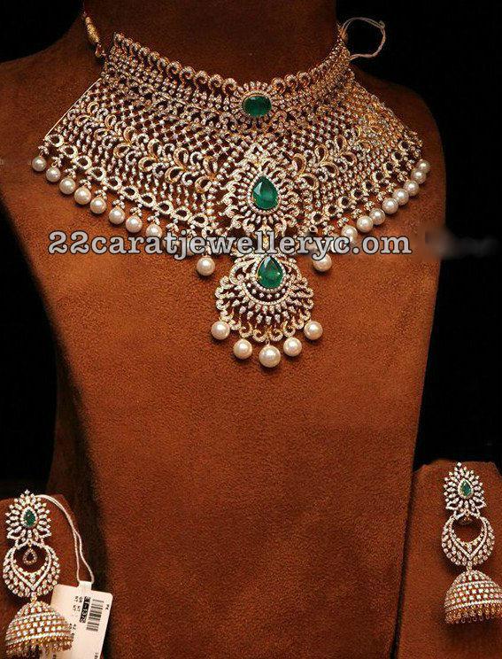 Opulent Diamond Choker Chandbali Jhumkas