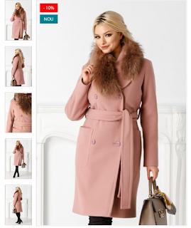 Palton elegant roz frumos de iarna rever din blanita naturala detasabila