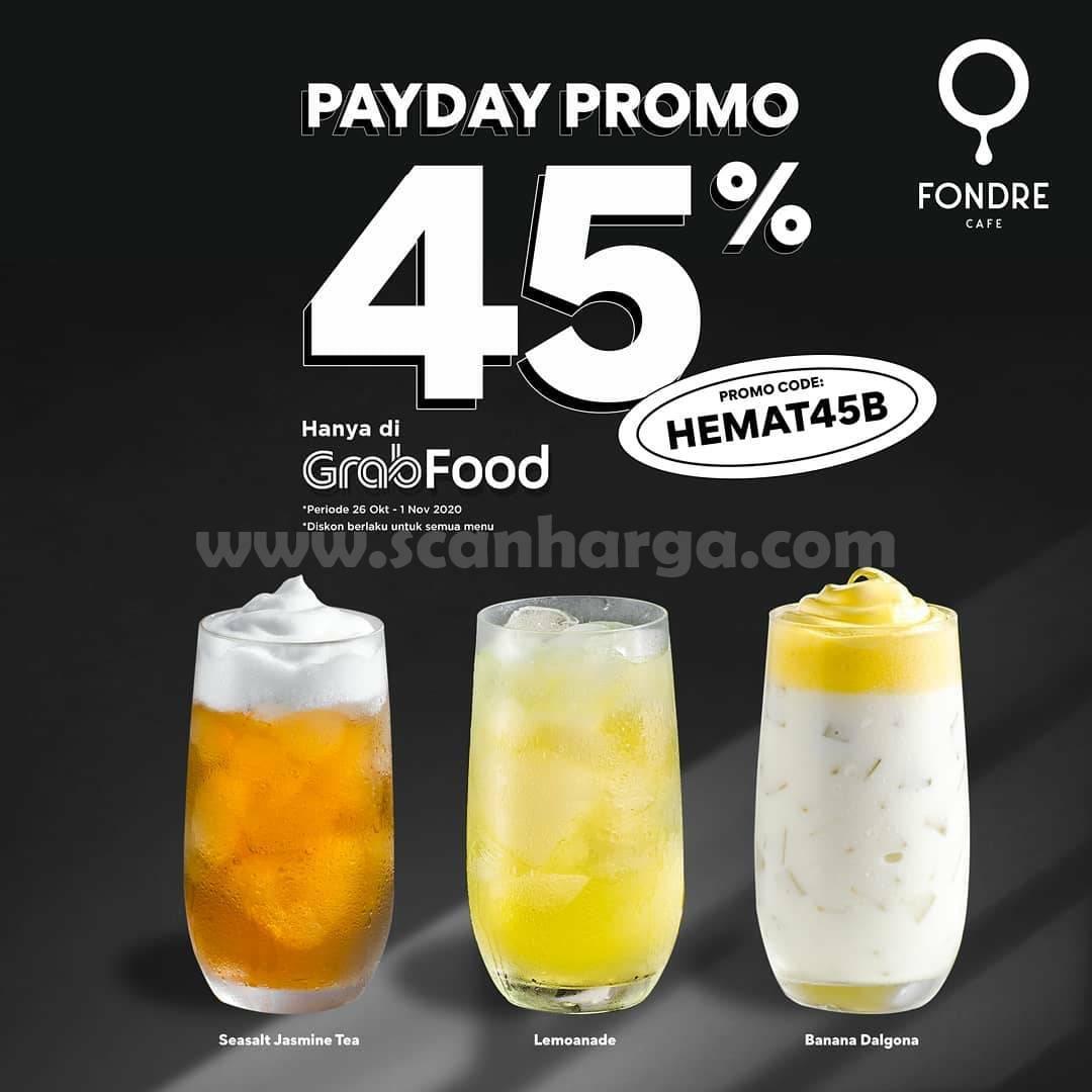 Promo Fondre Cafe Payday Diskon 45% Pemesanan via Grabfood