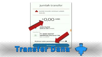 cara transfer saldo paypal ke bank bri