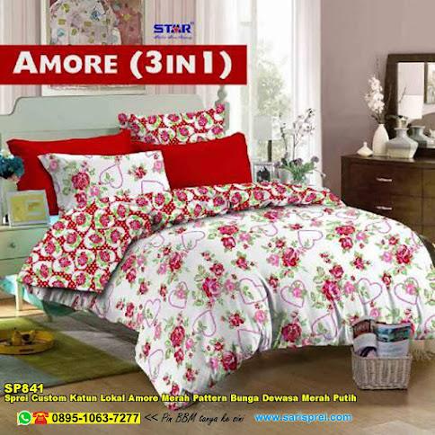 Sprei Custom Katun Lokal Amore Merah Pattern Bunga Dewasa Merah Putih