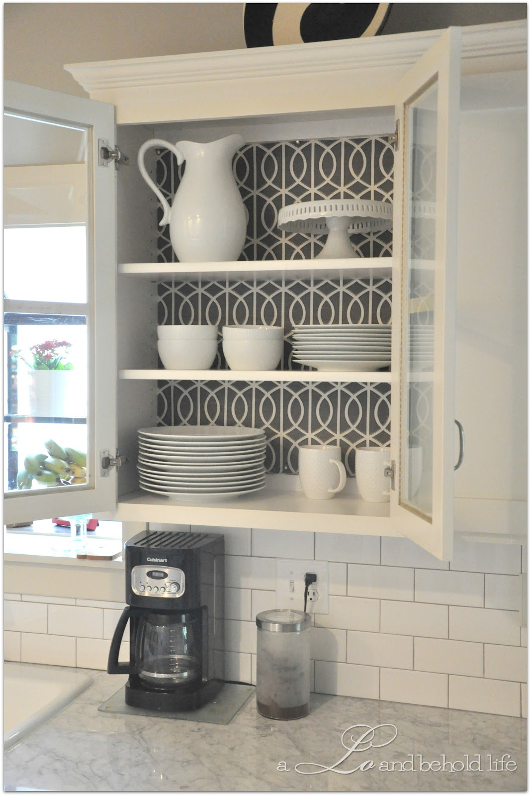 Attrayant A Quick Makeover Of The Kitchen Cabinets Can Be Achieved Using Wallpaper.  Whether You Decide To Give This Approach A Try Without Repainting The  Staples Or ...