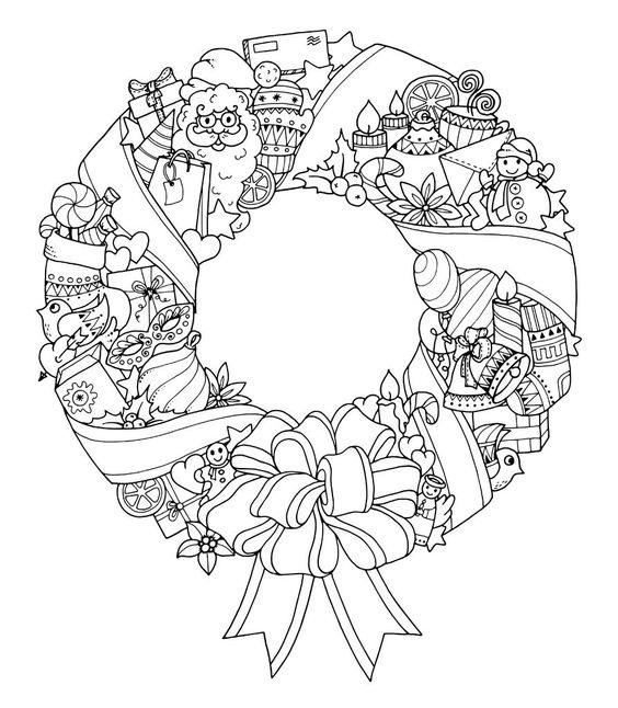 Tranh tô màu vòng hoa Noel đẹp