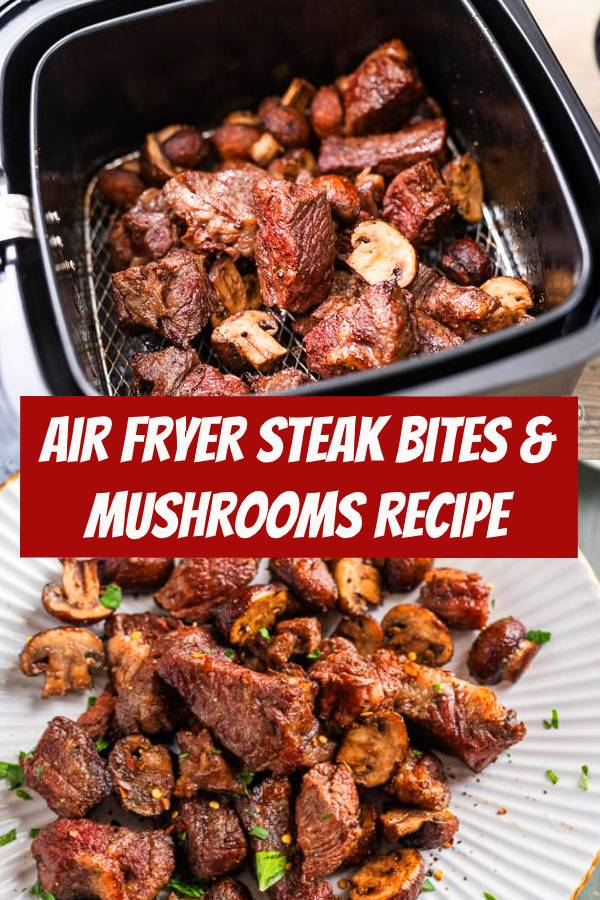 Juicy air fried steak bites in the air fryer is one of our favorite dinners, ever! Wow, it's so delicious and such an easy air fried steak bites recipe or steak tips recipe that you'll be obsessed with. Add some garlic mushrooms to the steak and dinner is served! #airfryer #steak #steakbites #mushrooms #dinner