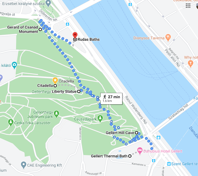 Citadella Hike Map - Things to do in Budapest