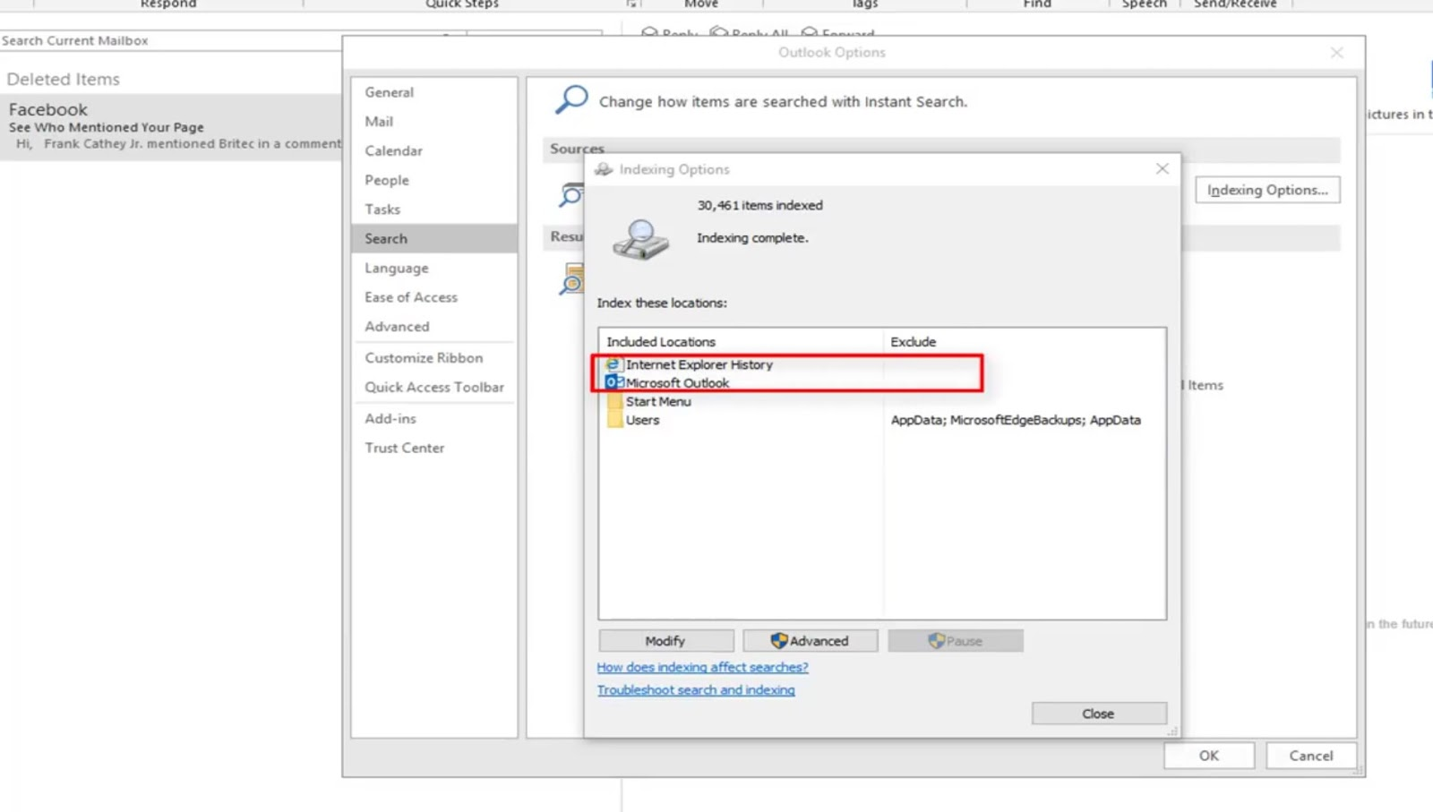 How to fix Microsoft outlook search not working? (full