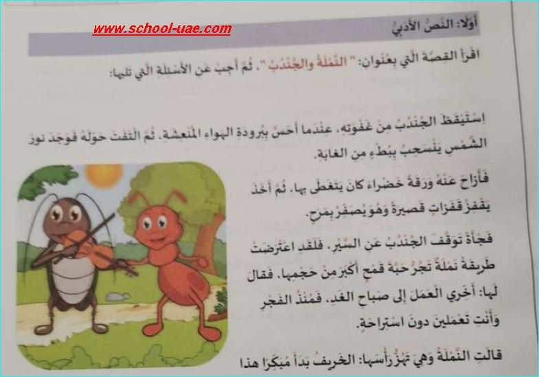 الامتحان الوزاري مادة اللغة العربية الصف  الثانى الفصل الدراسى الأول 2019-2020- مدرسة الامارات