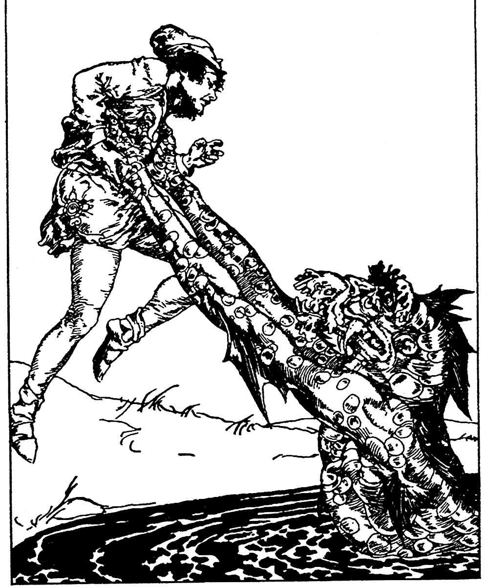 a Willy Pogany illustration of a demon pulling a man into a pond