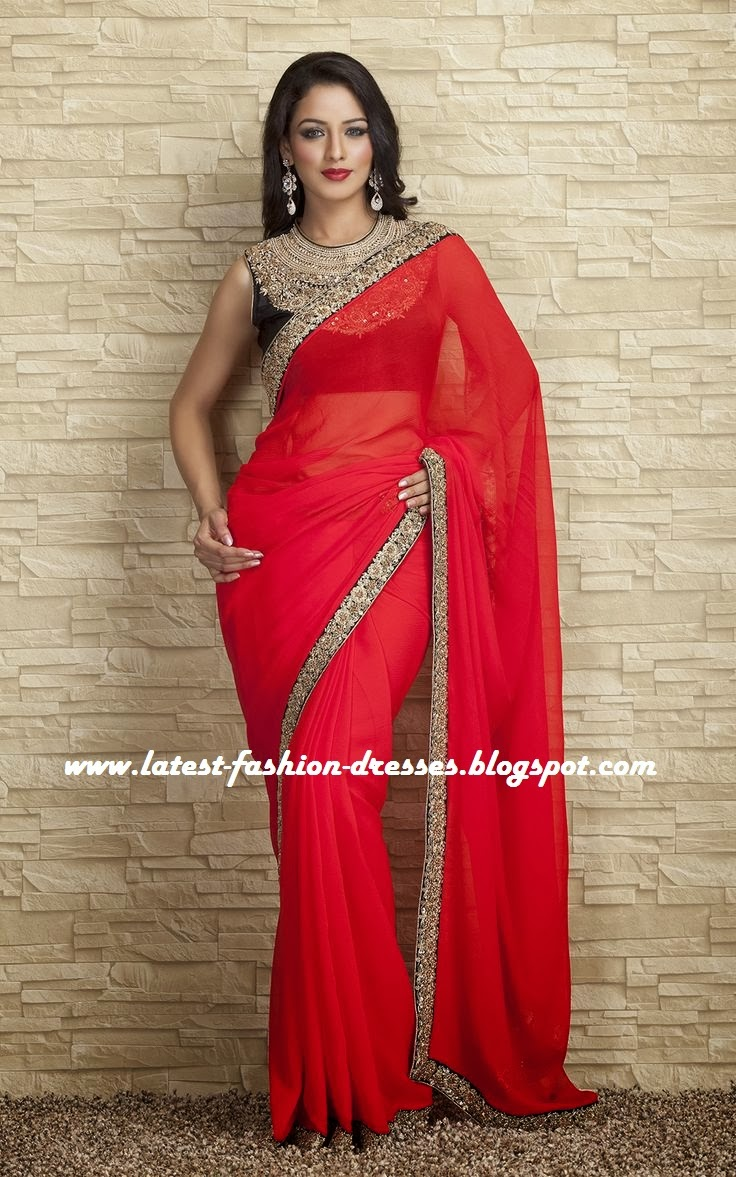 latest RED COLOUR SAREE WITH SLEEVELESS BLOUSE