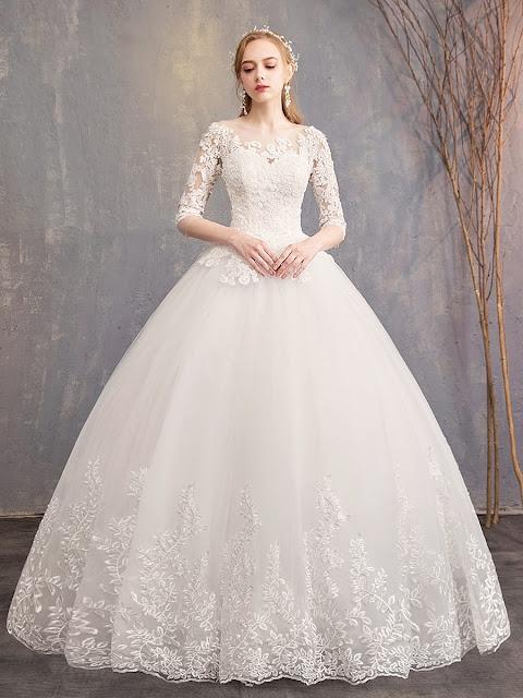فستان أبيض منفوش لغير المحجبات