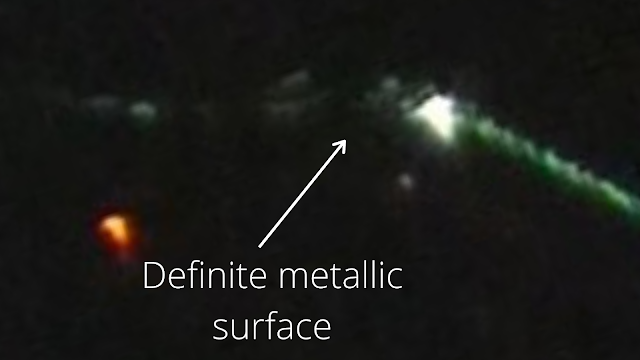 There's a definite metallic silver surface here pointed out.