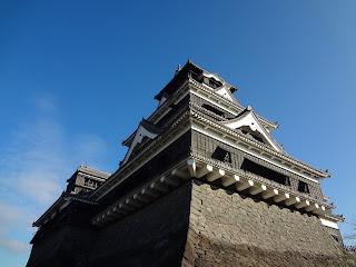 Ishigaki and the castle tower of Kumamoto castle before the Kumamoto earthquake