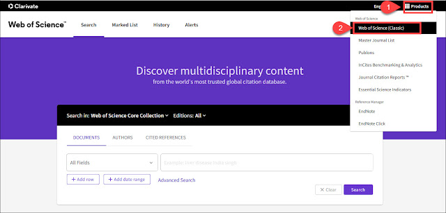Link to classic Web of Science interface is in the Products menu.