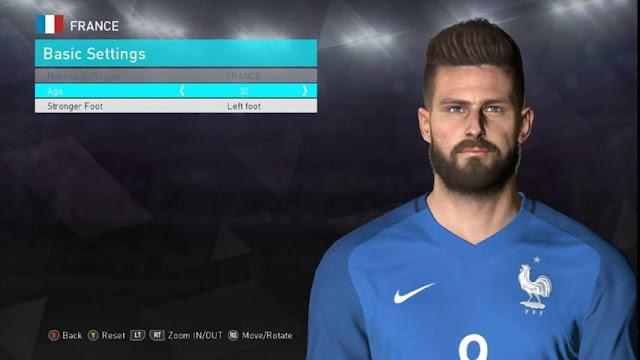 Face Olivier Giroud PES 2017