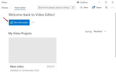 klik opsi 'Proyek video baru'