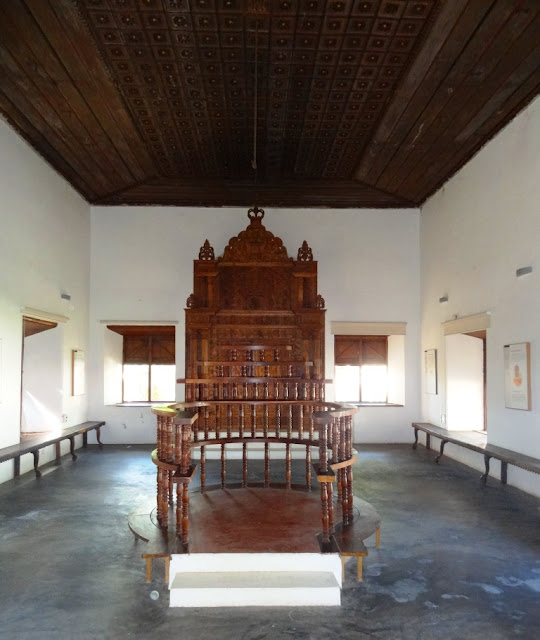 Interior of the Paravur synagogue showing the Hekal and Bimah