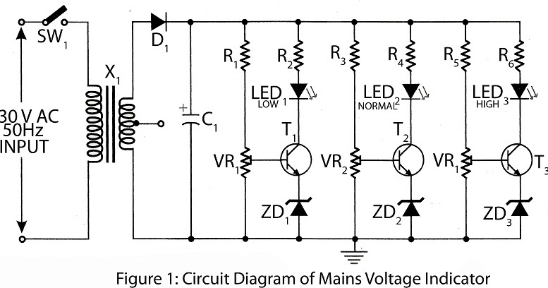 AC mains voltage indicator Circuit Diagram